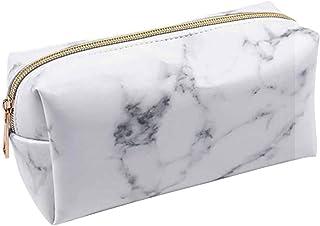 Annhao Astuccio Portamatite Grande Capacità porta Trucco Astuccio Cartoleria Organizer, con cerniera, effetto marmo, viagg...