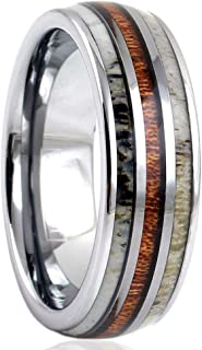 Magnificent Mirror Polished Silver 6mm/8mm Tungsten Carbide Dome Band Ring w/Koa Wood Between 2 Beautiful Deer Antler Inlays feat. Comfort Fit Inner Band.