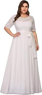 Plus Size Women Lace Illusion Mother of The Bride Dresses EZ07624