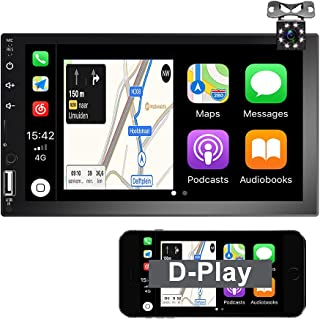 $89 » D-Play/Android Auto Double Din Car Stereo 7'' 1080P HD Touch Screen Car Radio, Support Voice Control Mirror Link for Andro...