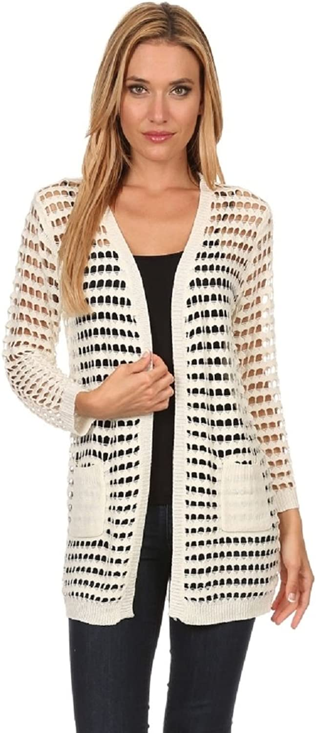 High Secret Jessica Moretti Women's Solid color Thin Knit Crochet Long Sleeves Pocketed Open Front Cardigan