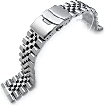 22mm Super Jubilee 316L Stainless Steel Watch Band, Solid Straight End 2.5mm Spring Bar