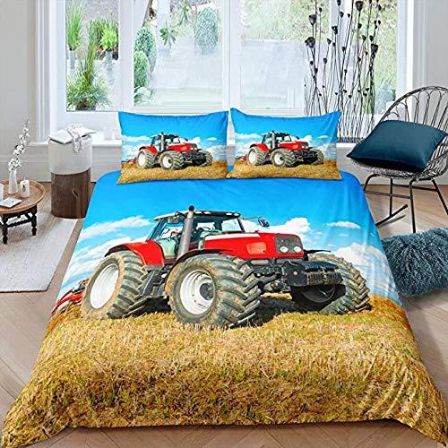 HUA JIE Juego de Ropa de Cama con Estampado de Tractor para niños Funda de edredón con diseño de Coches de construcción para Hombres Funda nórdica para vehículos de maquinaria Pesada roja para niños
