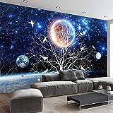 Shujuan Wallpaper,Personalice Cualquier Tamaño Mural 3D Starry Tree Flores Y Pájaros Pintura De Pared Sala De Estar Moderna Sofá Decoración para El Hogar Papel Tapiz Fotográfico,320240Cm