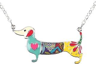 BONSNY Love Heart Enamel Zinc Alloy Metal Dachshund Necklace Dog Animal Pendant Unique Design