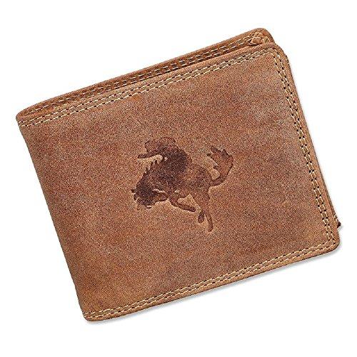 Herren Geldbörse Portmonee Portemonnaie Geldbeutel echtes Leder Cowboy Braun