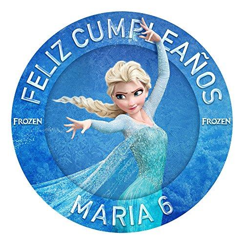OBLEA de Papel de azúcar Personalizada, 19 cm, diseño de Elsa de Disney Frozen
