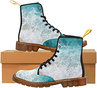 Artsadd Fashion Shoes Peacock Lace Up Boots for Women