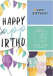 Set of 4 Greetings Cards / 4 Designs Folding Cards Birthday / Happy Birthday / Heart / Modern Design / Gift