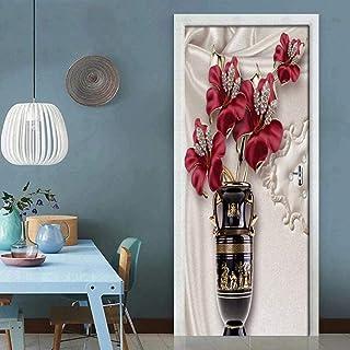 Accessoires de fleurs papier peint de porte auto-adhésif DoorPoster bricolage photo murale auto-adhésive PVC papier peint ...