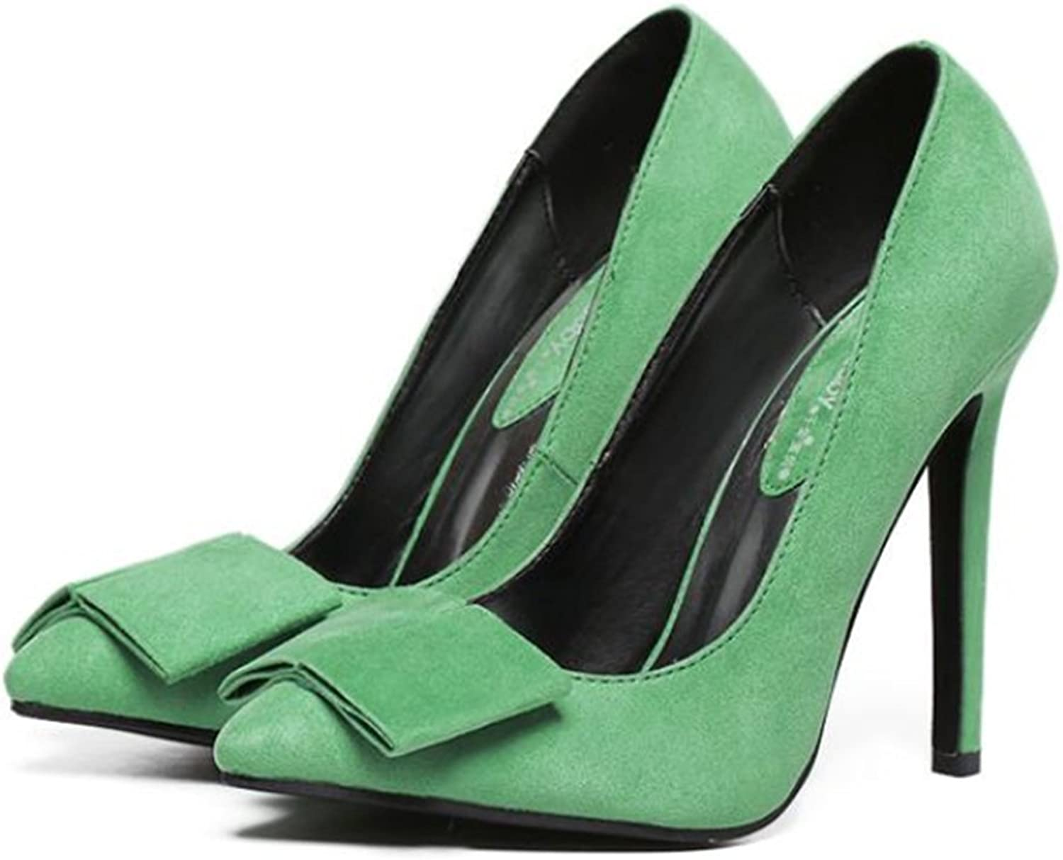 Suede Pointed Low-cut Bowknot Thin High Heel Thin shoes green 40