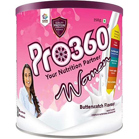 Pro360 Women Nutritional Protein Drink (Butterscotch Flavour) Complete Dietary Supplement for Glowing Skin, Strong Bones, and More Energy, 250 Gm