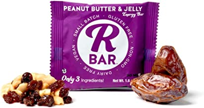 RBar Whole Food Plant Based Peanut Butter & Jelly Energy Bar - Soft Dairy & Gluten Free Snacks, Vegan Protein Bar PB&J - 3 Healthy Ingredients (10 Pack)