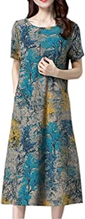 Women Loose Boho Dress Short Sleeve Cotton Linen Printed Dress with Pocket