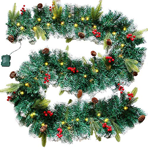 DR.DUDU 60 LED Christmas Garland,9 Foot Artificial Christmas Garland with Lights, Ind Covered by Snowflake for Christmas Party Decoration Outdoor Garden Gate Home Winter Holiday New Year