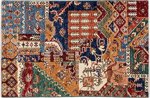 Lifetex.eu Teppich Brücke Samarkand Patchwork ca. 80 x 125 cm Bunt handgeknüpft Schurwolle Modern hochwertiger Teppich