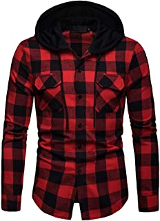 Men's Plaid Hooded Shirts Casual Long Sleeve Lightweight Shirt Jackets Button Up Relaxed Fit Hooded Quilted Shirt Jacket