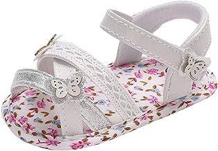 BBmoda Sandalias Bebe Niña Verano Zapatos con Suela Blanda paño Primeros Pasos para Recién Nacido 0-18 Meses Princesa