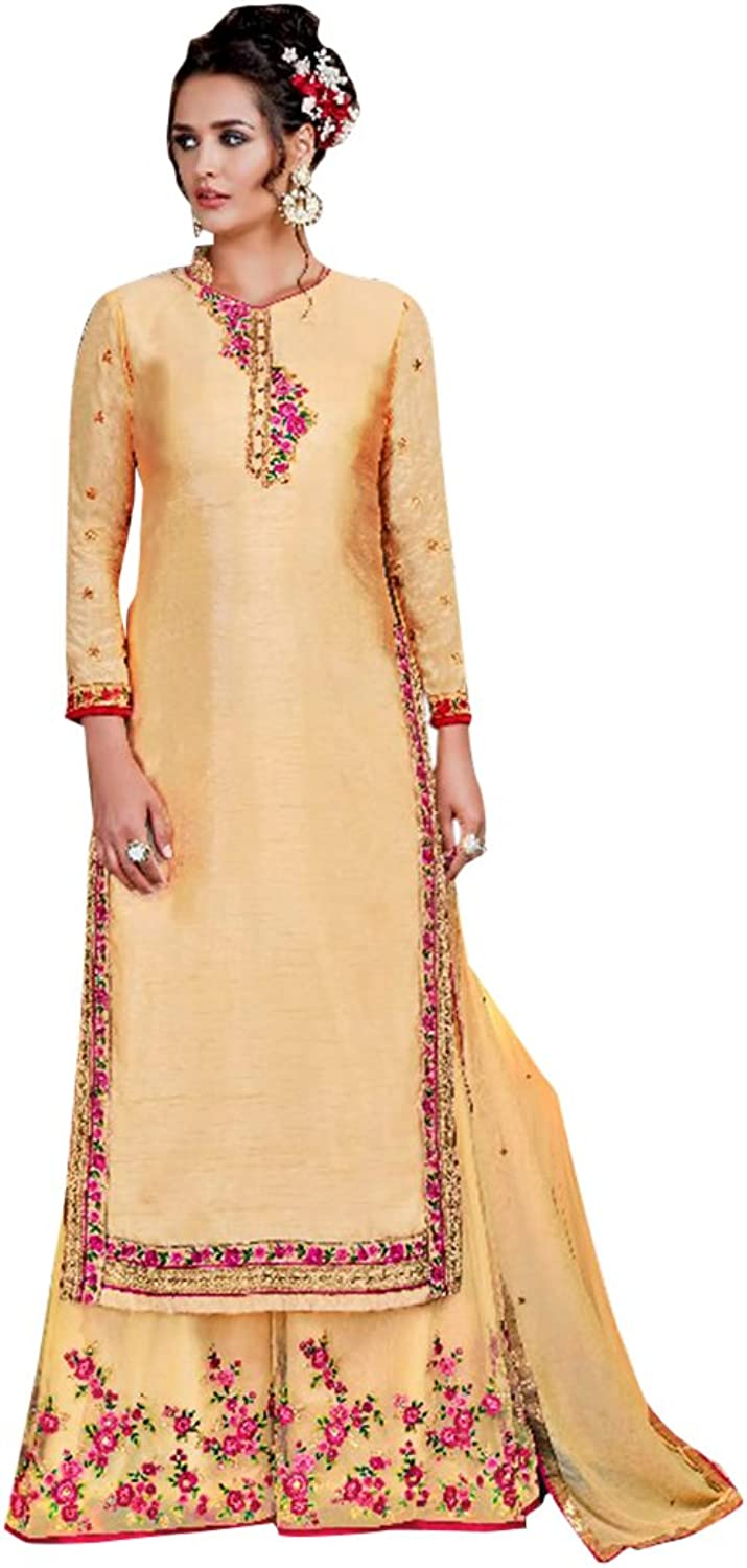 Bollywood Collection Straight Plazzo Kameez Suit Ceremony Punjabi Muslin Eid 632