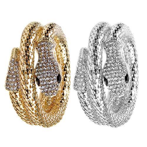 B Baosity 2 x Modeschmuck Kristall Strass Armbänder Frauen Charme Armreif Schlange Armband