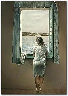 Kvinnan vid fönstret canvasmålning Salvador Dali affisch och tryck väggkonst bilder för vardagsrum väggdekoration 42 x 60 ...
