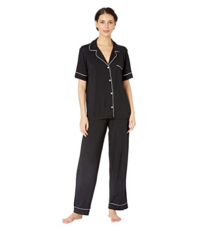 Eberjey Gisele Pajamas Short Sleeve Pants Set (Black/Sorbet Pink) Women