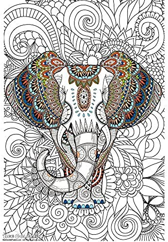 exclusivo Bee Colorful Original Big Coloring Poster Poster Poster (24''x 36'') African Elephant by Bee Colorful  bienvenido a orden