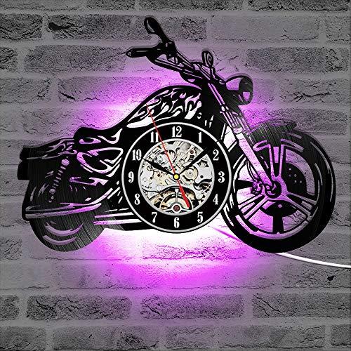 yuandp Klassieke 3D-wandklok voor motorfiets, met led-verlichting, garage-logo, motorfiets, retro vinyl, geluidsplaat, klok, wandklok, huisdecoratie