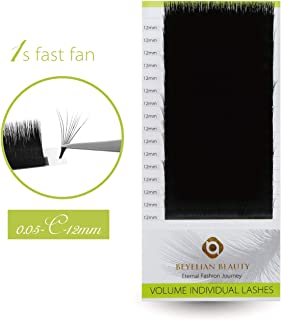 (C 0.05 12mm) - BEYELIAN 0.05mm C Curl 1s Fast Fan Lashes XD Volume Lashes Mink Eyelash Extensions Individual Semi Permane...