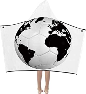 MOOCOM Sports Decor Cute Hooded Bath Towel,Soccer Ball with World Map Football Cup 2010 Entertaining Professional Game for Pools,48.98''L x 41.26''H