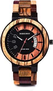 ساعة للرجال خشبية ملونة وسوار خشبي يدوي الصنع خفيف الوزن كوارتز عرض التاريخ كاجوال متعدد الألوان مع علبة هدايا