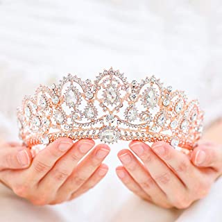 Victray Bride Wedding Crystal Crowns and Tiaras Bridal Princess Headbands Rhinestone Headpiece for Women and Girls(Rose Gold)
