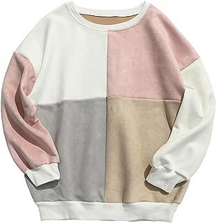 Men's Long Sleeve Crewneck Color Block Splicing Suede Pullover Sweatshirts