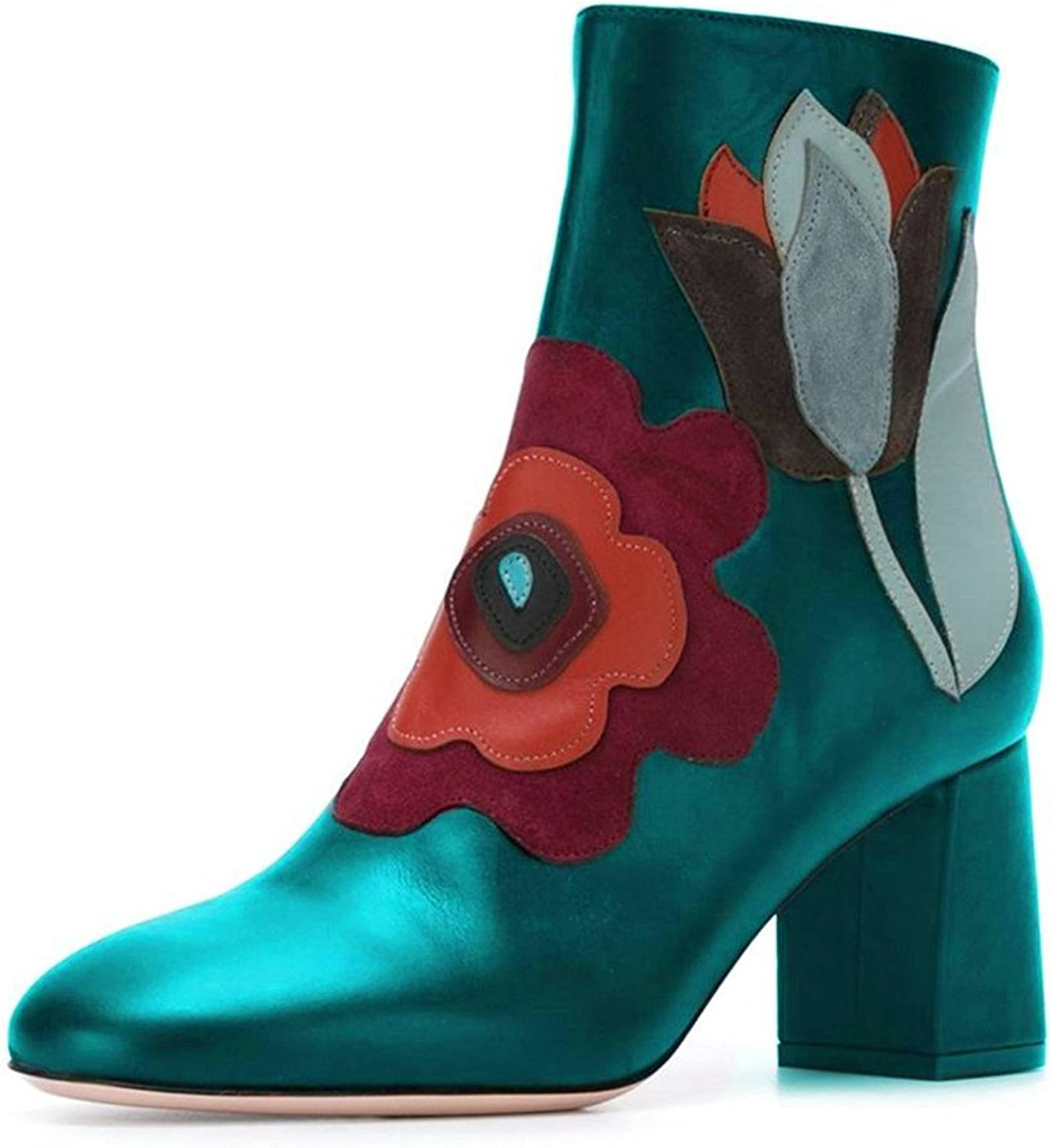 FSJ Womens Pointy Toe Chunky Heel Ankle High Floral Boots Zippered shoes Size 4-15 US