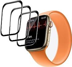 GMUJIAO 3 Pack Folia Ochronna na Szkło Hartowane Apple Watch Series 7 45mm,Zakrzywiona Krawędź 3D Anti-Scratch Bez Pęcherz...