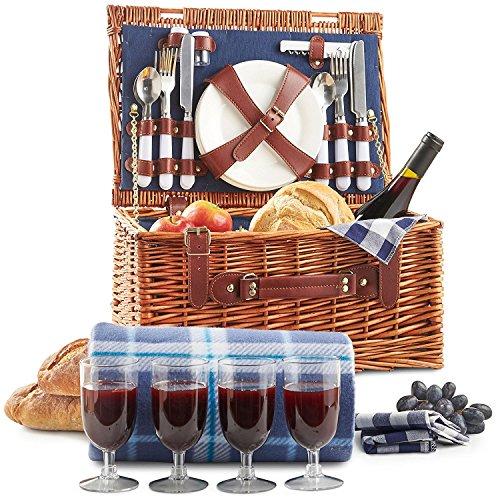 VonShef Picknickkorb, 4 Personen Weidenkorb Picknickkorb, Picknickkoffer Set mit Besteck, Geschirr, Gläsern & Fleecedecke für 4 Personen