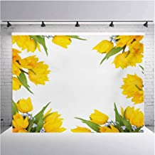 Yellow Flower Photography Background Cloth Abstract Frame Yellow Tulip and Blue Forget Me Knot Blooms Bouquets for Photography,Video and Televison 7ftx5ft Mustard Fern Green
