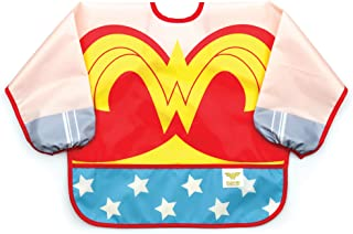 Bumkins DC Comics Sleeved Baby Toddler Bib|Waterproof, Washable, Stain and Odor Resistant, 6 to 24 Mths+, Wonder Woman