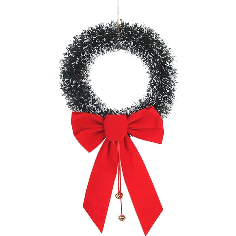 30CM手作り花飾り ボウノット クリスマスリース ドアと窓のリビングルーム装飾品クリスマス花輪 クリスマスガーランド
