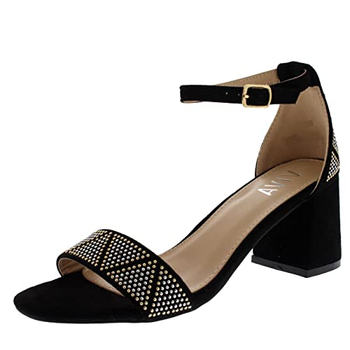 cc9b640c1cd0ac Viva Womens Sandal Cut Out Block Heel Open Toe Barely There Ankle Strap  Heels