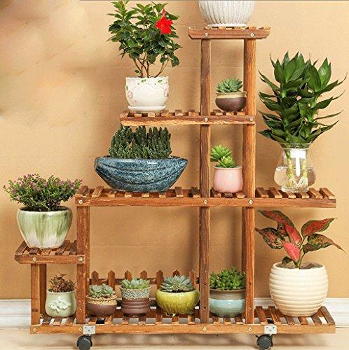 DGF Porte-fleurs en bois massif, cadre de pots à étages, intérieur et extérieur Cadre d'affichage à haute et basse (L95cm * W25cm * H95cm)