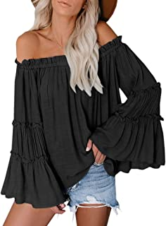 Womens Off The Shoulder Long Bell Sleeve Tops Flared Casual Loose Blouse