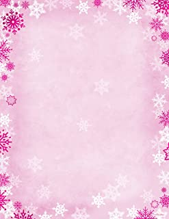 """Great Papers! Pink Foil Snowflake Holiday Letterhead, 8.5"""" x 11"""", 80 sheets (2018006)"""