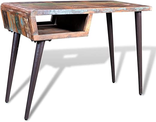 B07MQ9R1Y8✅Tidyard Vintage Reclaimed Wood Home Office Desk, Antique Handmade Living Room Furniture with Iron Legs