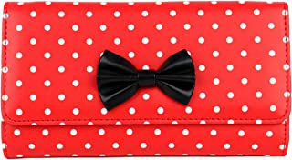 Schompi Retro Women's XXL Wallet with Polka Dots Pattern and Bow Faux Leather