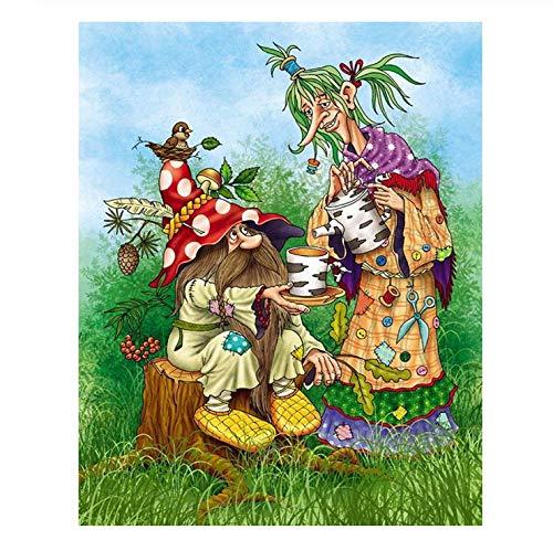 LIZHENG 5D Diy Diamant Malerei Stickerei Mosaik Kreuzstich Alter Mann gegossener Tee Dekor Wohnkultur Weihnachtsgeschenke 40X50Cm