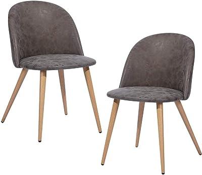 MEUBLE COSY Chaise de Salle à Manger Moderne Chaise de Cuisine en Tissu et métal, Chaise de Bureau Ergonomique Bleu