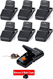 HARCCI Set of Mouse Snap Traps - Durable and Reusable Bait Quick Kill for Rodents, Vole or Mice for Indoor and Outdoor   Powerful Rat Eliminator for Home, Kitchen, Garage, Office   Black, 6 Pack