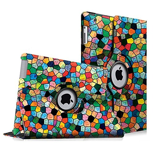 Fintie Hülle für iPad 2 / iPad 3/ iPad 4, 360 Grad verstellbare Schutzhülle Cover mit Standfunktion, Auto Sleep/Wake für iPad mit Retina Display (iPad 4. Generation), iPad 3 & iPad 2, Mosaic
