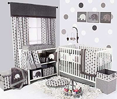 Bacati Elephants Unisex Cotton 10 Piece Nursery-in-A-Bag Crib Bedding Set, Grey